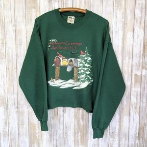 VTG '96 Christmas Cropped Crewneck Andover NJ